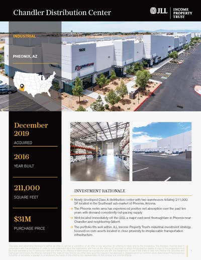 Chandler Distribution Center Property Profile Page Cover