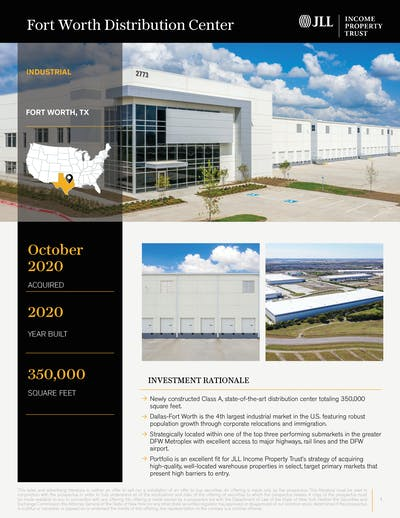 Fort Worth Distribution Center Property Profile Cover