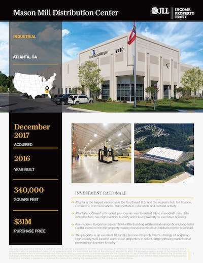 Mason Mill Distribution Center Property Profile 092020 Cover Page