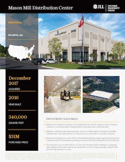 Mason Mill Distribution Center Property Profile 092020 Cover Page