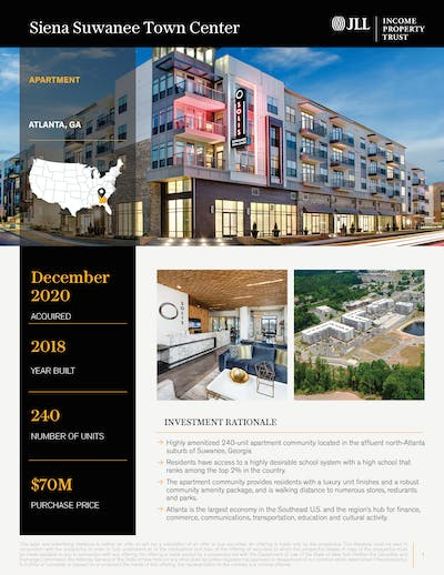 Siena Suwanee Town Center Property Profile Cover