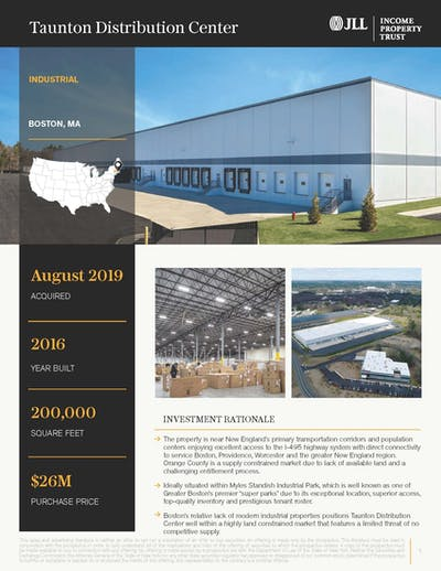 Taunton Distribution Center Property Profile 092020 Cover Page