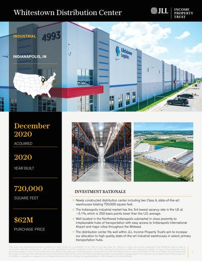 Whitestown Distribution Center Cover